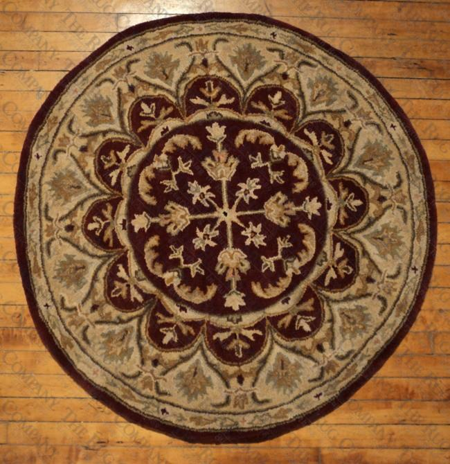 "leonardo burgundy '"" round  the rug company, 9 foot round rug, 9 round jute rug, 9 round rug"